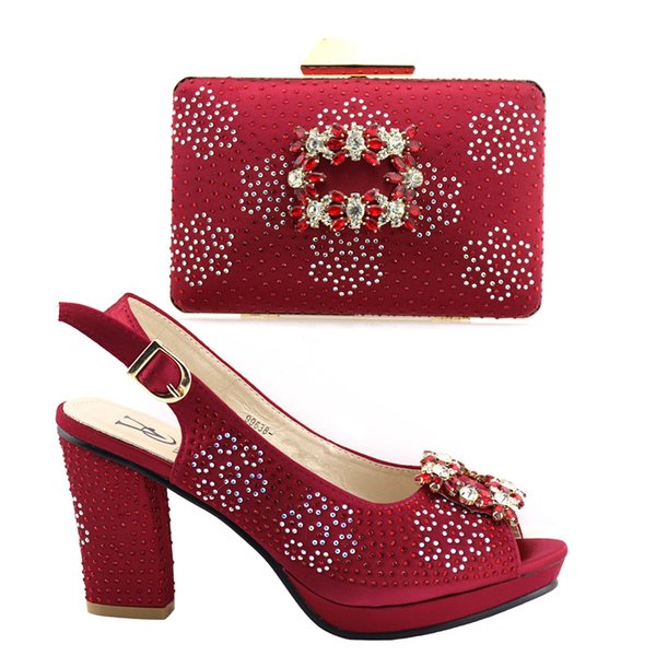 Fashion Wine Color Italian Shoes with Matching Bag for Women Nigerian Women Wedding Shoes and Bag Set Decorated with Rhinestone