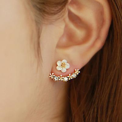 Haute qualité anti allergique bijoux en argent pur s 925 Sterling silver marguerite fleur avant et arrière deux face stud boucles d'oreille
