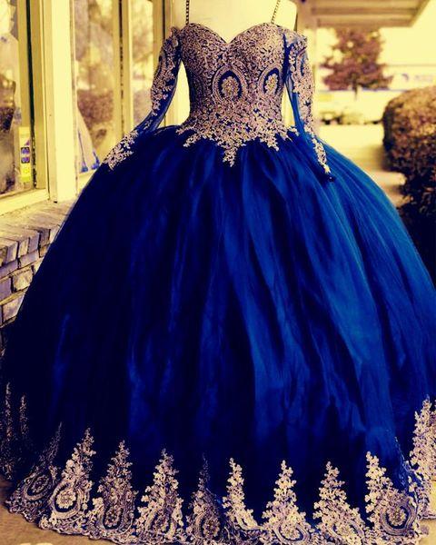 Increíble azul real con apliques dorados vestidos de fiesta de quinceañera Vestido de fiesta barato Manga larga de encaje Hombro frío Vestido de fiesta largo 16