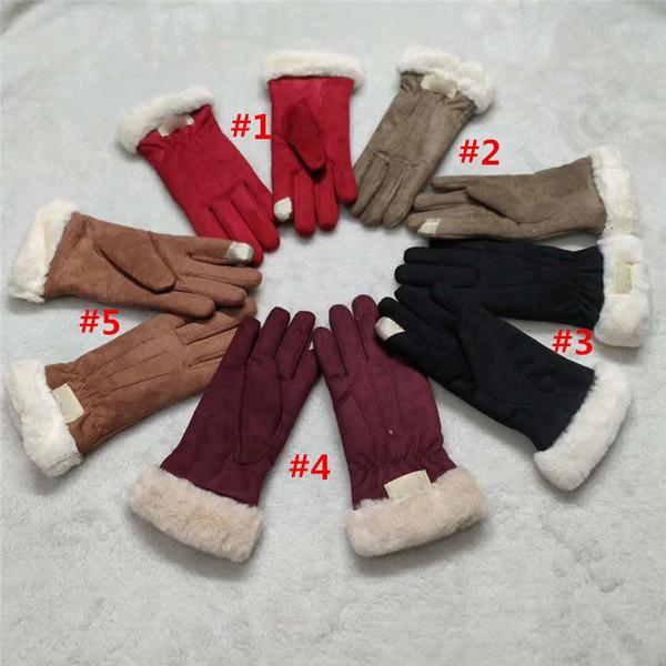 Australia ante de las mujeres dedo guantes de la marca Ug piel de lana guantes calientes pantalla táctil peludo Invierno Ciclismo a prueba de viento Guante Nuevo Diseño C101804