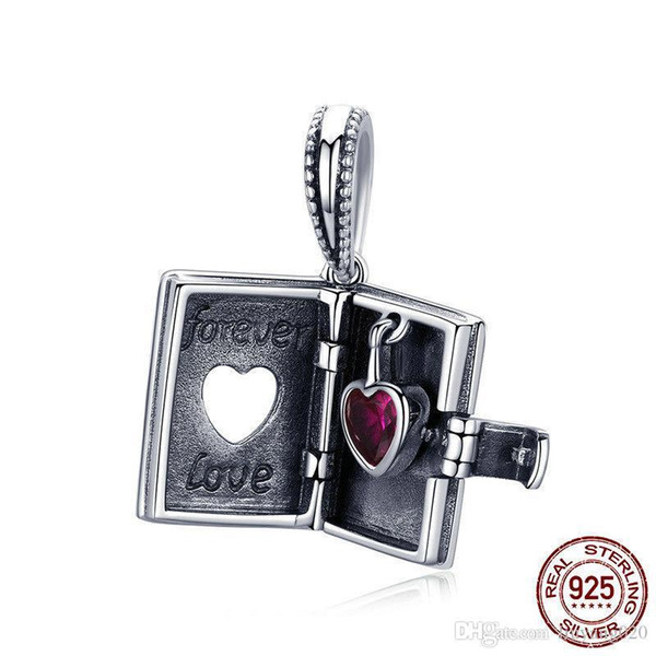 925 Sterling Silver Forever Love Box Pendant Heart Book Shape Charms Fit Original Pandora Charm Bracelets & Necklace Silver Jewelry Valentin