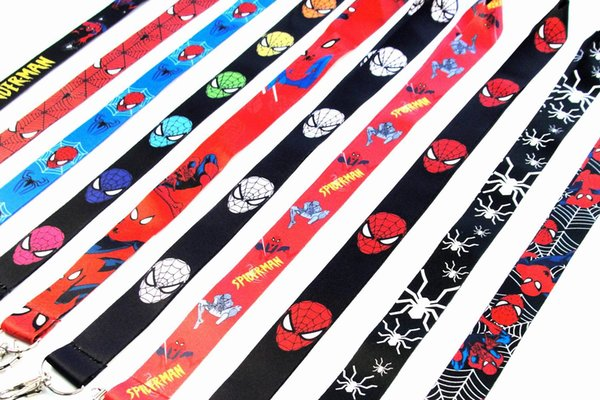2019 New Arrival Wholesale - Lot/20Pcs SpiderMan Logo Strap Lanyards For ID Badge Mobile Phone Key Chain String