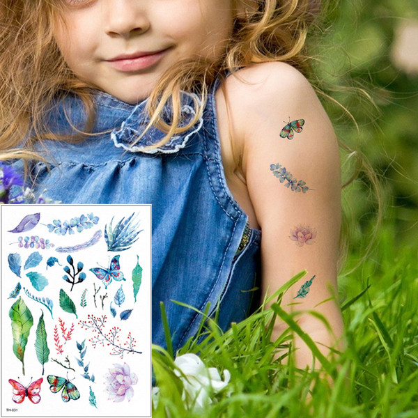 Tiny Small Green Plant Tattoo Little Leaves Butterfly Designs Temporary Waterproof Tattoo Sticker Body for Boy Girls Arms Hands Anime TH-031