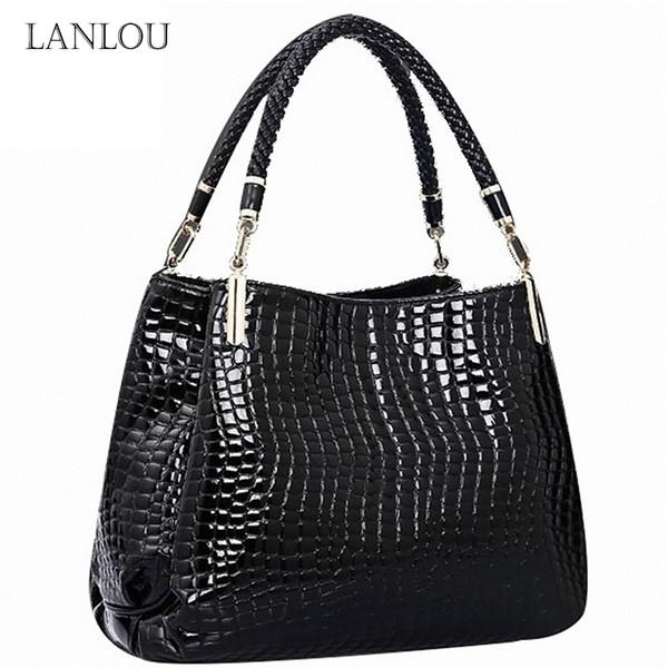 LANLOU Shoulder Bags Crocodile Pattern High-grade PU leather luxury Ladies handbag Casual fashion Hand-stitched Messenger Bags