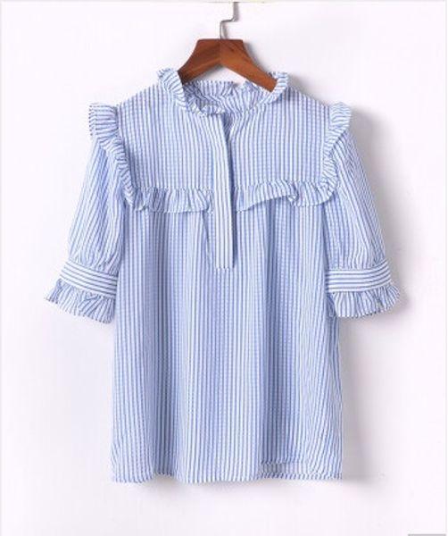 Short-sleeved shirt female 2019 summer new fashion Korean summer dress new very fairy tops foreign gas wild chiffon super fairy design shirt