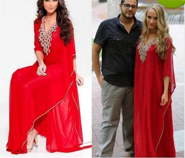 2019 Novo Estilo Árabe Vermelho Vestidos de Noite Oriente Médio Com Decote Em V Dubai Frisado Manga Comprida Abaya Muçulmano Formais Vestidos de Baile Plus Size Vestidos de Festa