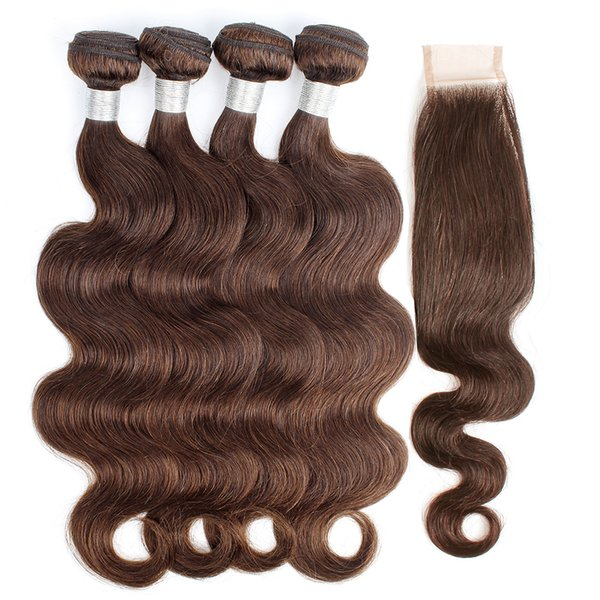 Color 4 Chocolate Brown Brazilian Hair Weave Bundles With Closure Body Wave 3/4 Bundles with 2x6 Lace Closure Remy Human Hair extensions
