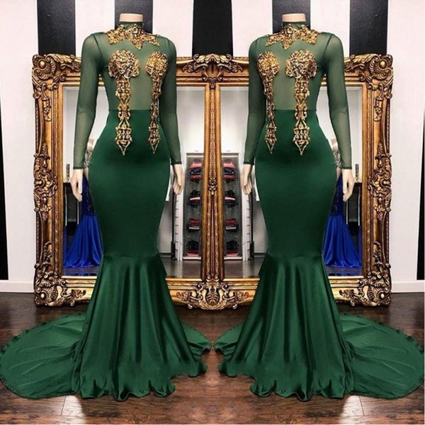2019 African Gold Applique Lace Mermaid Prom Dresses Dark Green High Neck See Through Long Sleeve Custom Made Evening Gowns