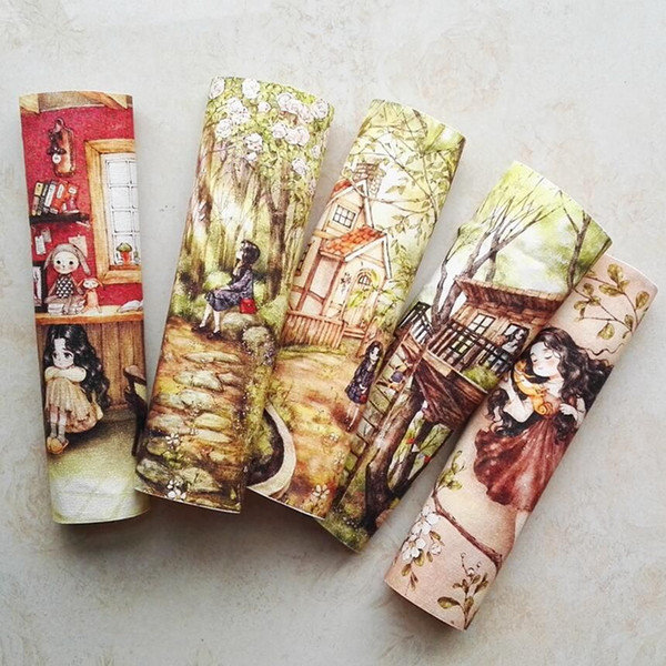 Patchwork impreso DIY teñido a mano tela de lona de algodón pintura decorativa pintada a mano tela Corea bosque niña diseño
