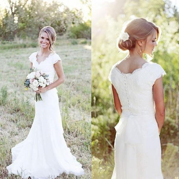 top popular 2020 Hot Sell Country Mermaid Lace Wedding Dresses Cap Sleeve V Neck Garden Beach Boho Wedding Gowns Cheap 2019