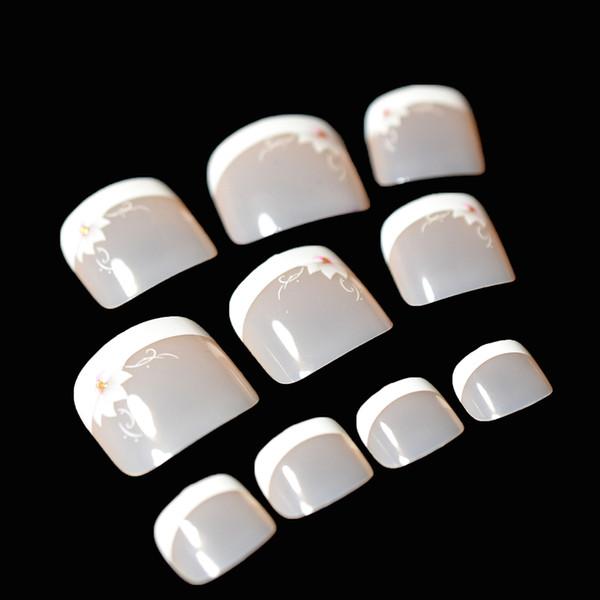 Compre 24 Piezas Uñas Falsas De Punta Francesa Para Pie Blanco Desnudo Flores De Lirio Rosa Puntas De Uñas Cortas Y Cuadradas Faux Ongles Para