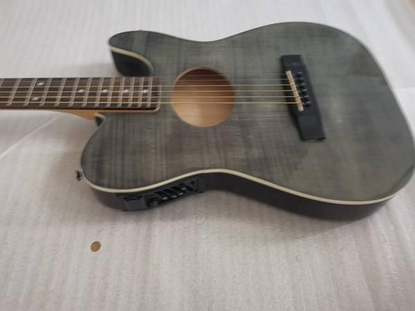 Flame Maple Top ST Stratacoustic Standard Black Акустическая гитара Китайский EQ Пикапы, палисандр Накладка Bridge, Vintage тюнер