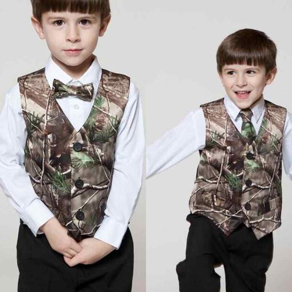 2019 Real Tree Camo Vest Venta barata Ropa formal para niños Ropa en línea personalizada para niños Ropa formal para bodas Chaleco de camuflaje + Arco