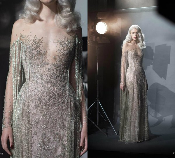2019 Paolo Sebastian Mermaid Prom Dresses Sheer Jewel Neck Lace Beads Tassel Elegant Evening Dress Party Wear Custom Made Vestidos De Novia
