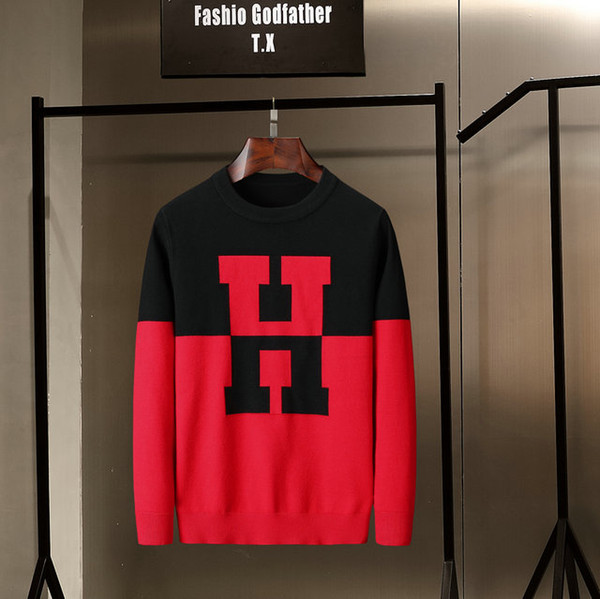 Neue Art und Weise Männer Slim Pullover Farben-Block-Design-Herbst und Winter dünner Pullover Kontrast-Farben-Art-029