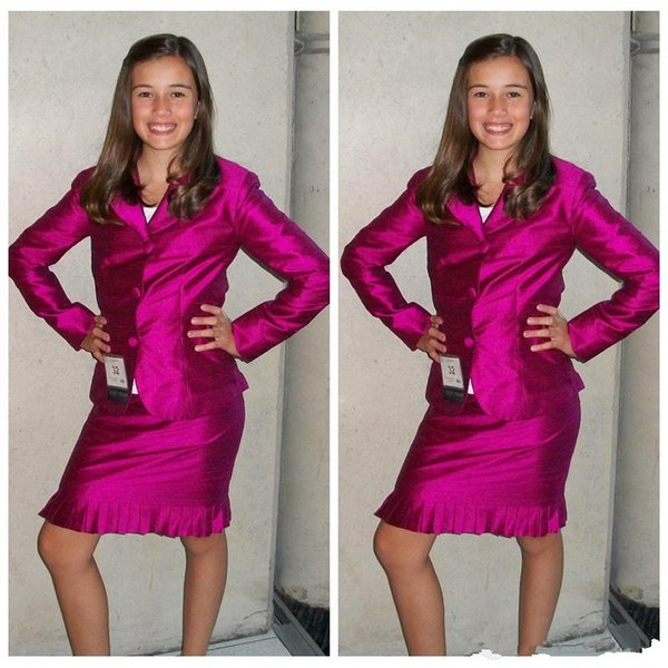 Slim Custom Two Pieces Formal Girls Pageant Dresses Knee-Length Long Sleeves Jacket Girls Interview Suit Party Dresses Teenager Custom Plus
