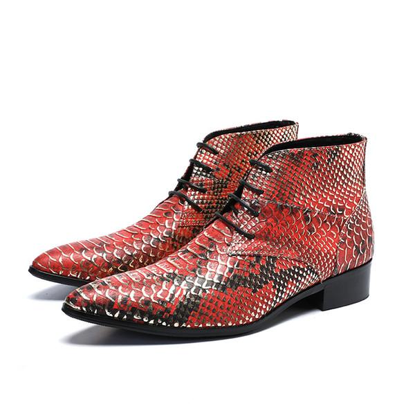 Yılan derisi Baskılı Moda Çizmeler Erkekler Hakiki Deri Sivri Burun Lace Up Casual Kısa Ayak Bileği Çizmeler