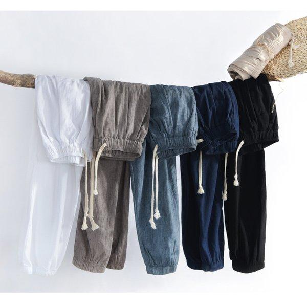 ГОРЯЧАЯ 2019 Летние свободные мужчины Льняные хлопчатобумажные повседневные брюки бегунов спортивные штаны брюки Мужские Прохладный и дышащий S-4XL