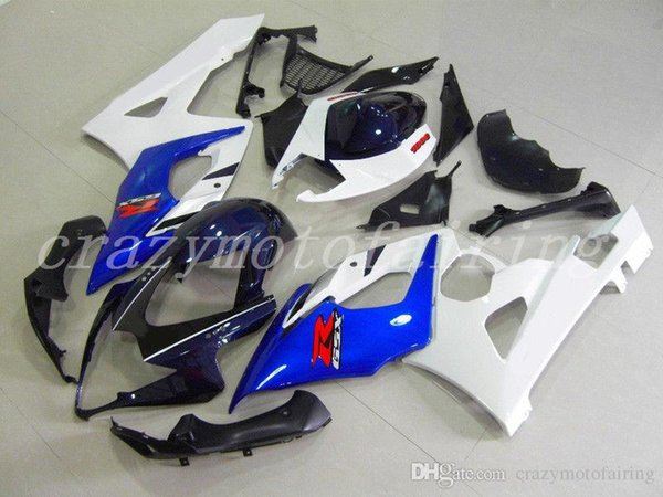 High quality New Injection Mold ABS motorcycle Fairings Kits Fit For Suzuki GSXR1000 K5 2005 2006 GSXR1000 05 06 bodywork set white blue
