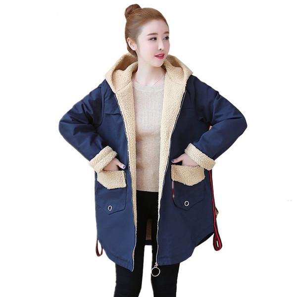 Großhandel Wintermantel Frauen Lange Parka Korean Plus Size Schwarz Mit Kapuze Warme Damen Daunenjacke Lose Mantel Damen Lamm Baumwolle Kleidung