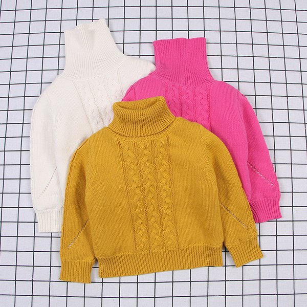 Winter Baby Girls pullover Sweater Thick Clothing Kids Cardigan Sweater for Girls Turtleneck Cotton Children Sweater Girl 1-6T