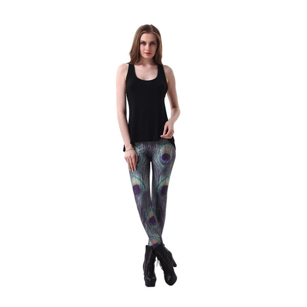 Girl Leggings Peacock Feather 3D Graphic Full Print Skinny Yoga Wear Pants Woman Stretchy Pencil Fit Lady Comfortable Jeggings (YLgs3090)