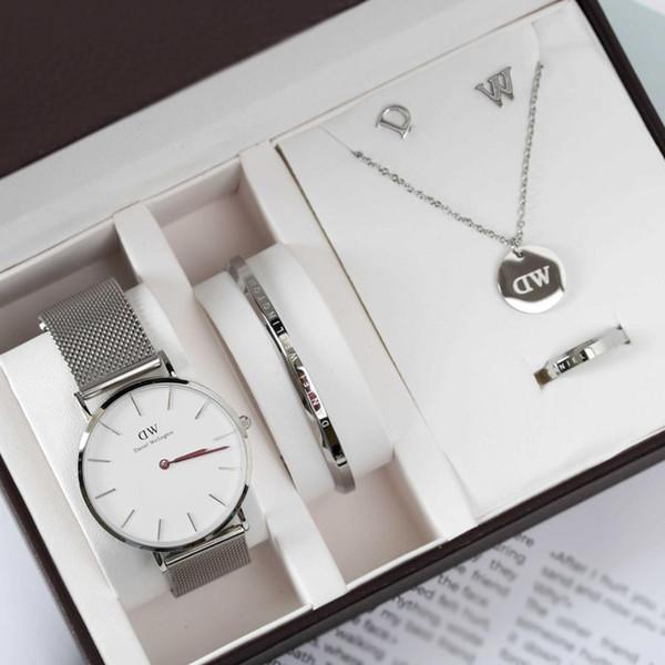 DW Womens acero inoxidable tira Dial 36 mm cuarzo relojes y joyas 5 piezas por juego con caja de regalo Daniel Wellington para San Valentín