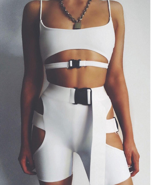 top popular Solid Color Hollow Out Short Tank Top Suits Sexy Buckle Waist Shorts Slim Two Piece Set Summer Beach Wear Women Clothes DropShip 220213 2019
