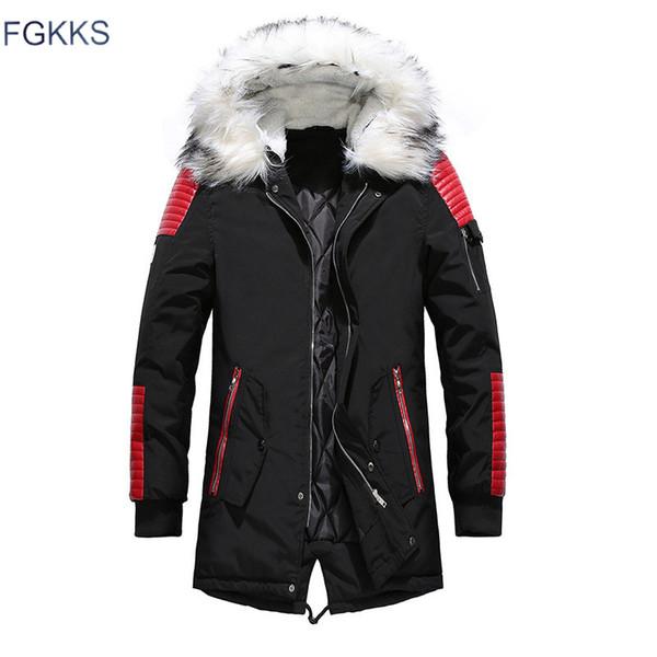 FGKKS Homens Da Moda Parkas Quentes 2019 Inverno Masculino Com Capuz Grosso Casuais Dos Homens Confortáveis À Prova de Vento Parkas Roupas Mens
