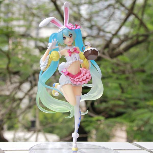 Venta caliente animado Hatsune Miku del oído de conejo Ver figura de acción del PVC de colección Modelo juguetes para los niños