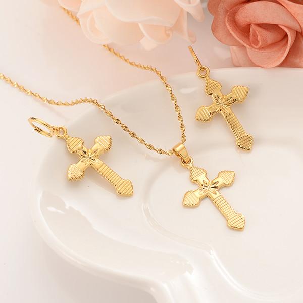 Ouro de bambu do punk colar de pingente de cadeia colar conjuntos de jóias de ouro conjuntos de jóias para as mulheres menina melhor Jesus presentes