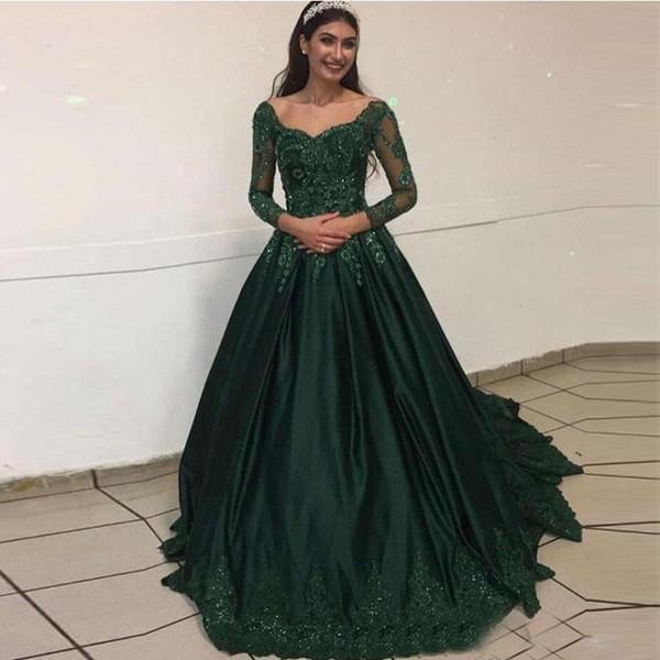 Темно-зеленый Длинные рукава кружево Вечерние платья Arabic 2020 Scoop шеи сатин Аппликация из бисера Формальные Пром платья Vestidos De Формальное