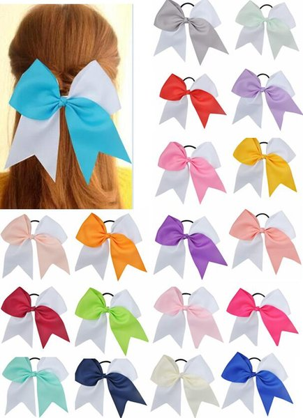 15pcs/lot 2019 Hot Sale 7 Inches Woman Girls Hair Bow Elastic Hairband Ties Cheer Bows Ribbon Hair Gum