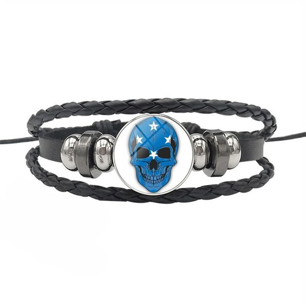 Simple Leather Rope Beaded Wrap Bracelet High Quality Micronesia National Flag Time Gem Glass Dome Skull Series Button Jewelry For Women Men