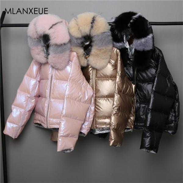 Tragen Sie Beidseitiger Damen Daunenjacke Mode lose Hem Unregelmäßige Glossy Parka Mäntel Weiblich Kapuze Warme Damen Winterjacken SH190924