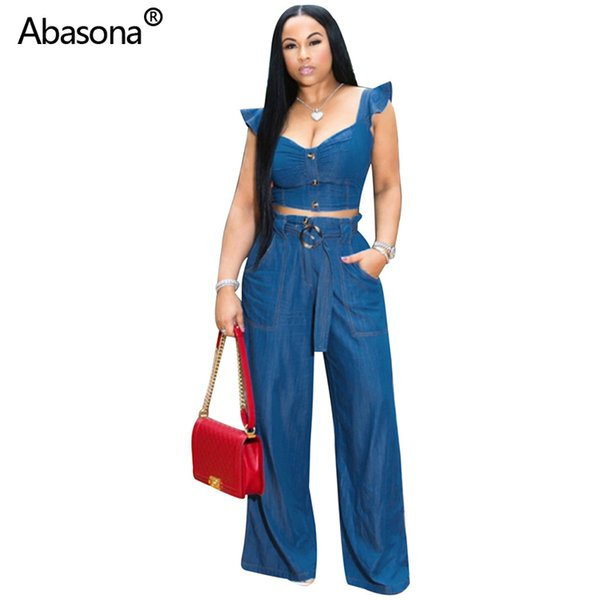 2019 fashion ruffles shoulder jean Vneck pullover crop top straight full length pants suit two piece set denim casual outfit