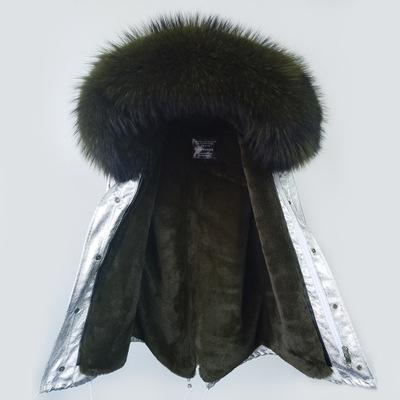 maomaokong brand women snow coats army green rabbit fur jackets Lavish raccoon fur trim 100% real rabbit fur lining silver mini parkas