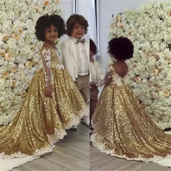 Sparkly Gold Sequin 2019 Flower Girls Dresses For Wedding Party With Long Sleeves Asymmetrical White Lace Applique First Communion Dress