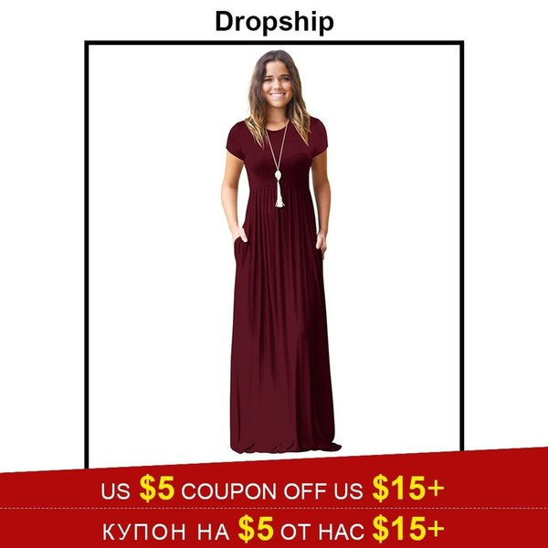 Wholesale Dress Summer Vestido Maxis Women Dresses Long Plus Size Black Red  Long Sleeve Beach Boho Verano 2019 Pocket Loose Fall Cute Dresses For ...