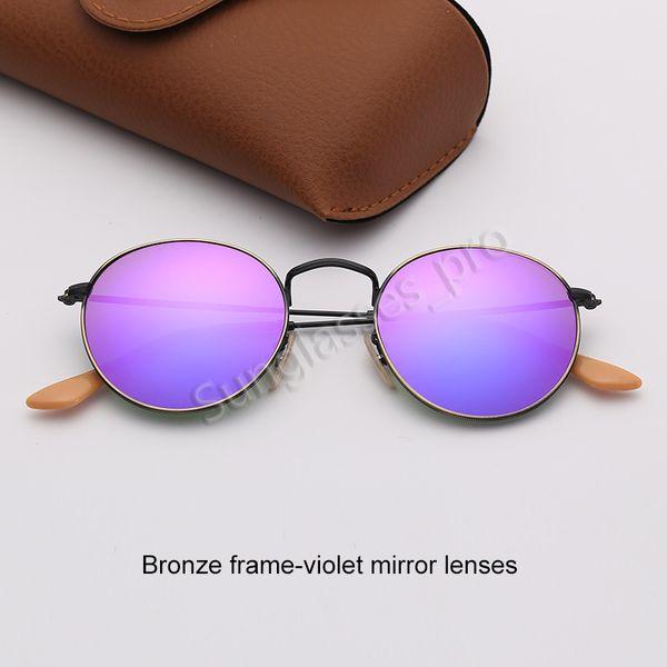 Бронзовые каркасно-фиолетовые зеркальные линзы