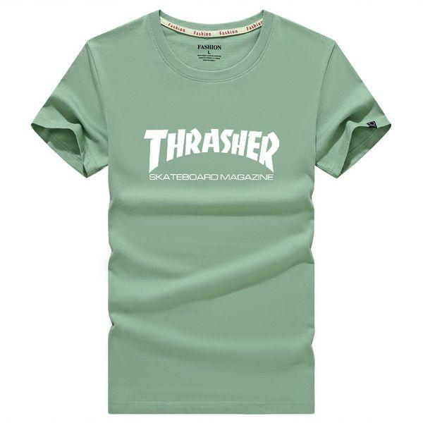 Şık Rahat Tasarımcı Kısa kollu tişört thrasher Harf Baskı% 65 pamuk İnceltme malzeme tişört Pişmanlık Hip Hop markası Boş aşınma