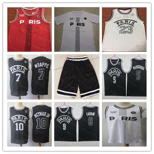 best selling 2019 PSG Paris Movie 23 Michael MJ Basketball Jerseys 10 NEYMAY JR 7 MBAPPE Sewn Black White Red Men's maillot de basket Shirt