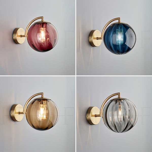 Nordic living room colour glass wall light simple creative bedroom bedside study design style Led wall lamp 90-260v