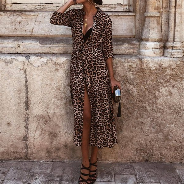 woman dresses women clothing women dress autumn ladies leopard print dresses v neck midi dress fall evening party designer clothes