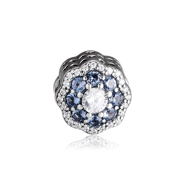 Woman Beads Blue Sparkle Flower Charm Spring Garden Beads For Jewelry Making Fits Original Bracelets Sterling Silver Jewelry Charm