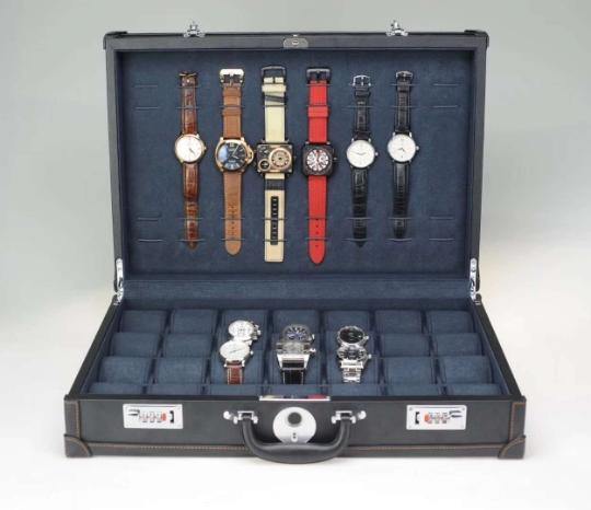 New fingerprint lock watch box wooden 21 and 28 slots watch case 14 and 16 pendant orange black leather suitcase
