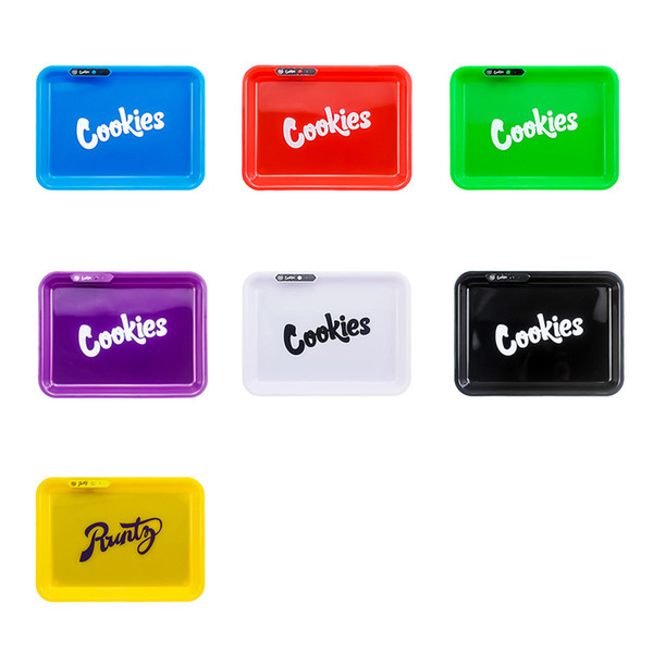 top popular Cookies LED Rolling Glow Tray Rechargeable for Rolling Cigarette Tobacco Storage Holder Smoking Accessories w  Handbag 2021