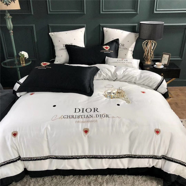 White Heart Embroidery Bedding Sets 60S Cotton Gold Thread Letter Bed Cover  Suit D Letter Queen/King Bedding Supplies Comforters Duvet Cover From ...