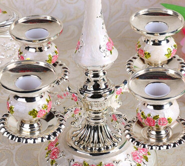 European Roses Candelabra Crystal Centerpieces Silver Candle Holders For Weddings Table Decorations Parties Home Decor