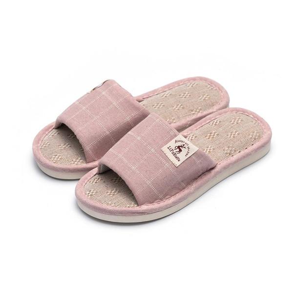 2019 summer new indoor slippers female men soft bottom slip wear-resistant Japanese linen slippers lattice lovers slippers